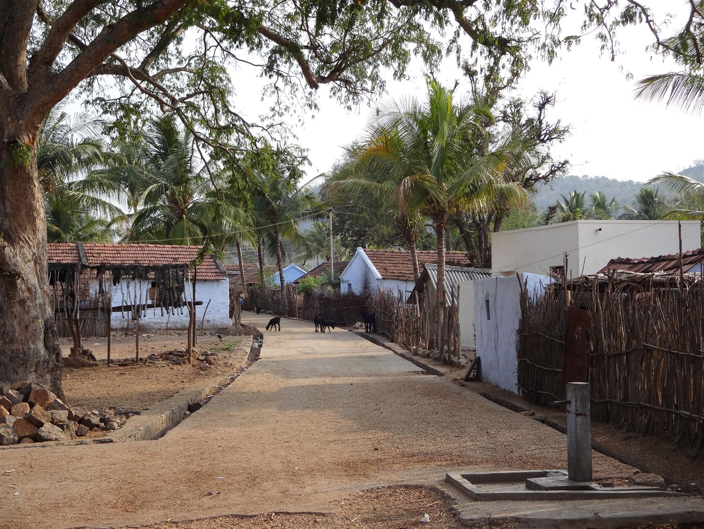 Dorfstraße in Makkampayalam